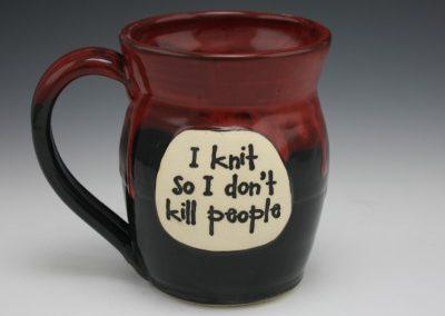I knit so i don't kill people, bloody mug 2