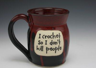I crochet so i don't kill people mug 2