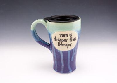 Yarn is cheaper than therapy travel mug