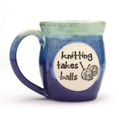 Knitting takes balls sweet pea 20 oz mug