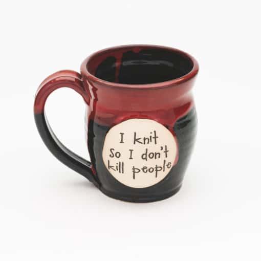 I knit so I don't kill people Red and Black 20 oz. Mug