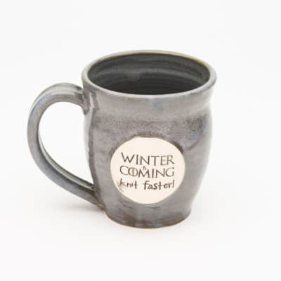 Winter is coming knit faster Storm Grey 20 oz. mug