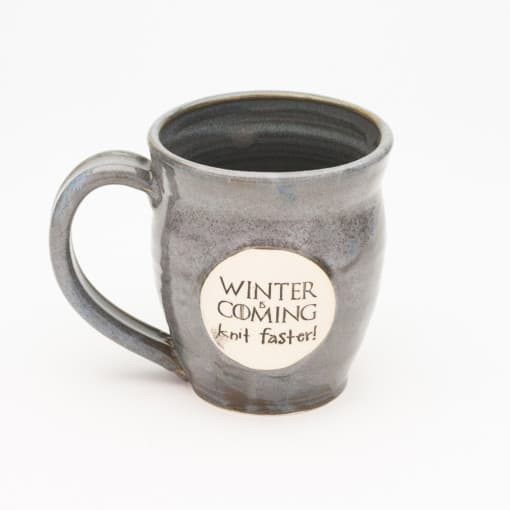 Winter is coming knit faster Storm Grey 20 oz. mug