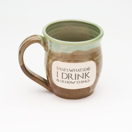 I drink and i know things GoT inspired Jade & Iron 20 oz. mug