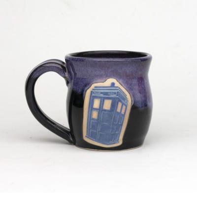 Doctor Who Police Box Arizona Sunrise glaze pink/purple over black 20 oz. mug