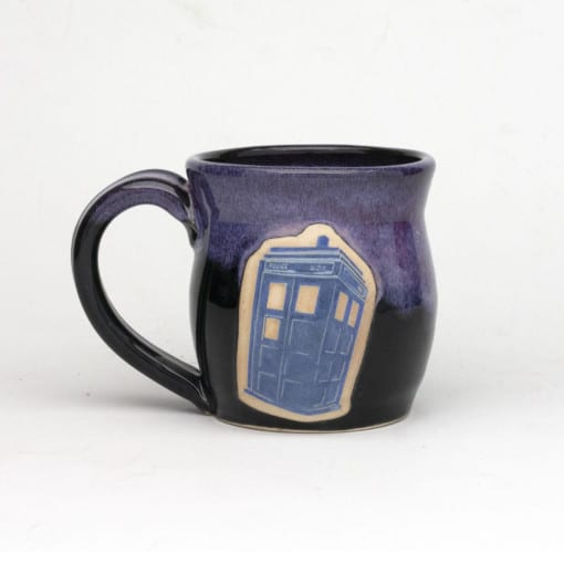 Doctor Who Police Box Arizona Sunrise glaze pink/purple over black 20 oz. mug