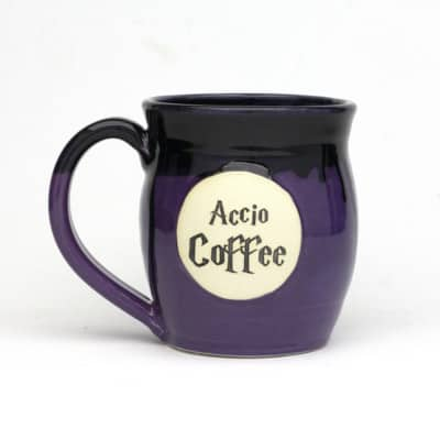 20 ounce harry potter inspired coffee mug. Accio Coffee with black glaze dripping over purple glaze. dishwasher safe