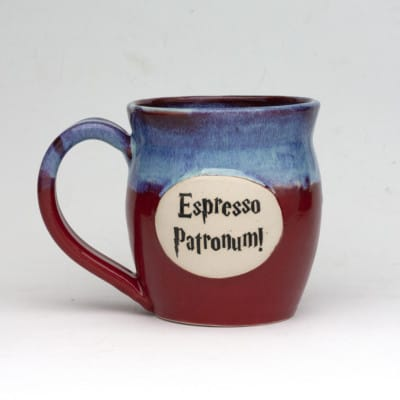 20 ounce blue over red glazed mug, hand made and dishwasher safe