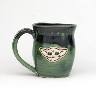 Star Wars the child Poisoned Apple, Black over emerald Green glaze in stock